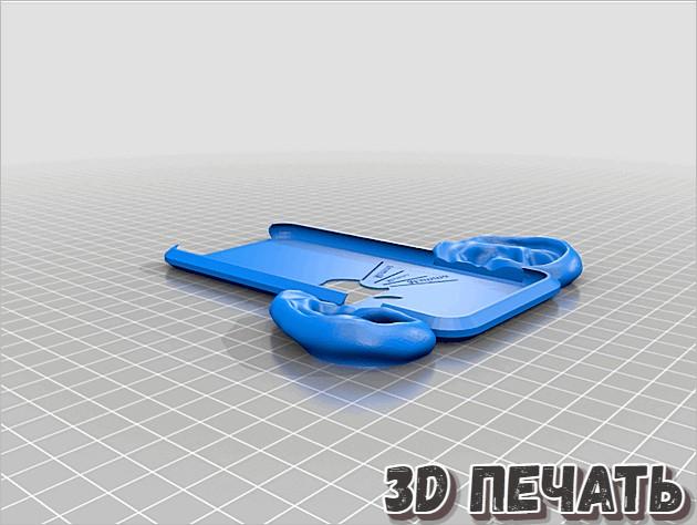 3D модель очень тонкого чехла для iPhone 6 с ушками